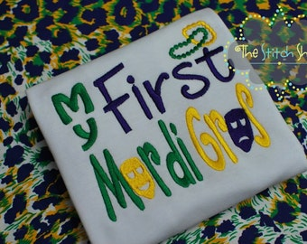 My First Mardi Gras Appliqued and Monogrammed Shirt