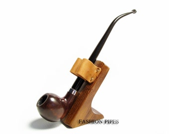 "Fashion Set -""LORD"" Pipe Churchwarden Fashion Style & Stand, Long Tobacco Smoking Pipe of Pear Wood Pipe 9.8''"