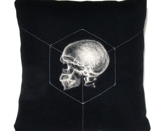 X-Ray Skull Accessory Pillow / Black and White