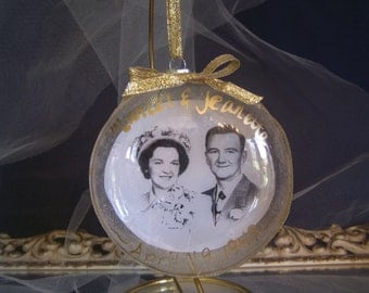 Wedding Anniversary Decoupage Christmas ornament on glass with gold leafing
