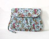 Blue floral clutch, little bouquet clutch, shabby chic, floral wristlet