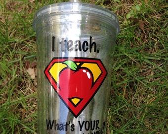 Teacher appreciation cup| acrylic tumbler|personalized teacher cup