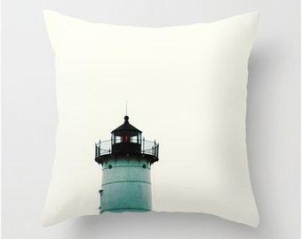 Velveteen Pillow Cover, Lighthouse Nubble Light Maine Coasta Art Ocean Minimal Art, Throw Pillow, Bedroom Decor Living Room Decor