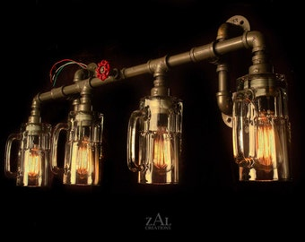 Vanity Light. Plumbing fittings & Beer mugs with vintage style Edison bulbs. Wall light. 3 ft.