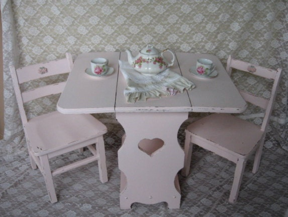Shabby Chic Kids Table and Chair set Activity Table Little
