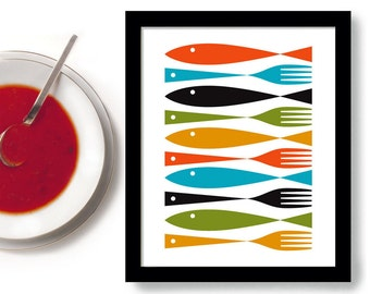 Kitchen Art Cooking Art Mid Century Modern Fish Art Kitchen Decor Fork and Spoon Colorful Cooking Quote Kitchen Utensils