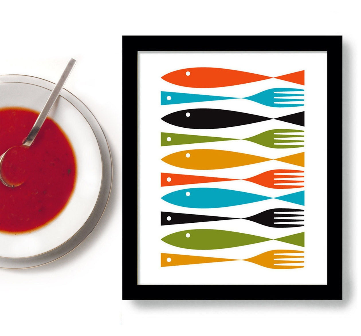 Kitchen Art Fish And Forks Mid Century Modern Cooking Art