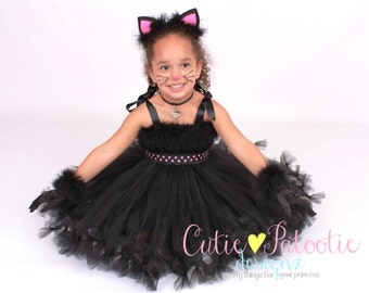 COMPLETE COSTUME: Ready to Ship -  Petti Tutu Dress - Halloween Cat or Kitten Costume - Black and Pink - Curious Cuddles - 5-6 Youth Girl