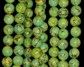 8mm Turquoise Gemstone Green Yellow Round 8mm Loose Beads 7.5 inch Half Strand (90190725-178)