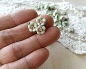 8 mm Apple Green Color Tiny Flat Back Porcelain Apple Blossom Flowers (.mi)