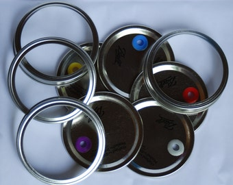 1 Pre Drilled Wide Mouth Metal Mason Jar Cup Lids With Ring & Food Grade Silicone Grommet, DIY Tumblers Mason Jar Cups