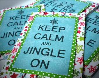 Keep Calm and Jingle On Christmas Card Set of 4 with Envelopes