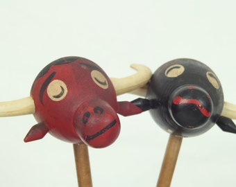 Vintage Wooden Bull Salt & Pepper Shakers with Handles, Made in Japan, Mid Century