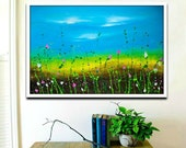 Large Abstract landscape, Painting of flowers, blue yellow wall art on canvas 24x36 inches by Heroux