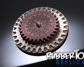 Beautiful Leather Steampunk Cog Coasters with bronze cold cast resin base - SIX DIFFERENT DESIGNS!