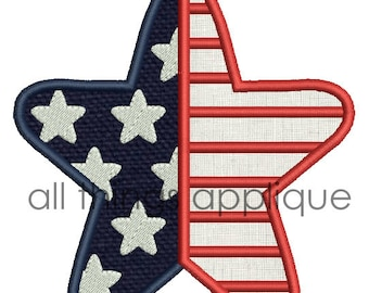 Stars and Stripes Star Applique Design - 3 Sizes -  INSTANT DOWNLOAD