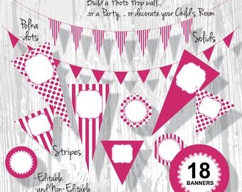 Pink Birthday Banner Party Bunting PDF Editable Fuschia Stripe Polka Dot Pennants 3 Sizes 18 Banners : BA0201 3s3850