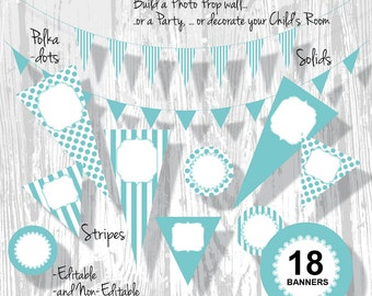 Graduation Banner Party Banner printable Boy Birthday PDF Editable Blue Aqua 3 Sizes 18 Banners : BA0201 3s2250