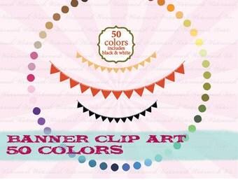 Banner digital clip art ribbon clipart birthday bunting scrapbook aqua, pink, blue, green, black : c0101 v301