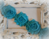Dark Mint Shabby Flower Trim. Dark Mint Green Flower Embellishment. 1/2 Yard.