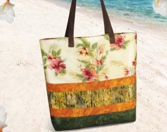 Large Tote Pattern, Kona Carryall, Pink Sand Beach Designs , Pattern Craft Supply, Beginner Friendly Pattern