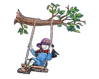 Garden Girl on a Swing Rubber Stamp