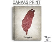 Taiwan Map Stretched Canvas Print - Home Is Where The Heart Is Love Map - Original Personalized Map Print on Canvas