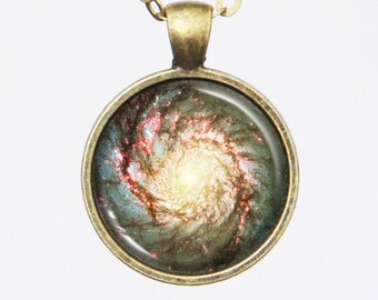 Spiral Galaxy Necklace - Heart of Whirlpool Galaxy (M51) -Astronomical Necklace - Galaxy Series (G003)
