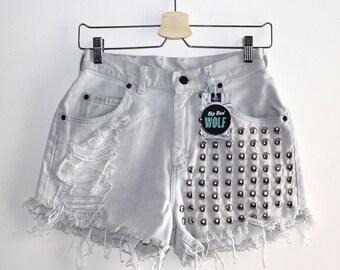 Denim Cutoff Shorts - White Denim, Studded and Frayed Denim Shorts