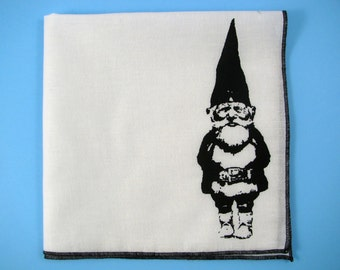 HANKIE - GNOME shown on super soft white cotton hanky-or choose from any solid color or plaids shown in pics