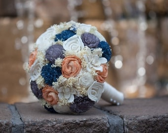 Handmade Wedding Bouquet- Large Ivory Navy Orange Gray Bridal Bridesmaid Bouquet, Alternative Bouquet, Keepsake Bouquet, Rustic Wedding
