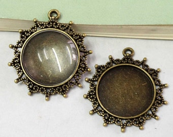 Cabochon Base Settings -5pcs Antique Bronze Sunny Cameo Setting Charm Pendants 30mm C402-2
