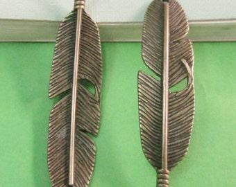 15pcs Antique Bronze Curve Feather Connector Charm Pendant for making Bracelet 11x41mm C103-6