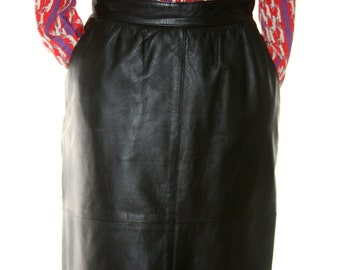 Vintage Black Leather Pencil Skirt with Pockets - Made in Turkey - Size Small - 2 or 4