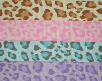Leopard Print Grosgrain Ribbon 5/8 inches wide