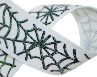 "7/8"" Glitter Spiderwebs Grosgrain - 100 Yards"