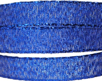 Blue Metallic Ribbon - 3/8 inch wide - 3 Yards - Closeout Sale!