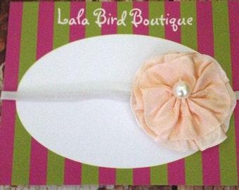 Peach Flower Headband - Newborn Flower Headband - Infant Headband - Newborn Headband - Photo Prop - READY TO SHIP
