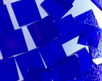 Mosaic Tiles - 100 Small Squares - Blue Stained Glass - Hand-Cut