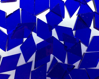 Mosaic Tiles - 100 Small Diamonds - Blue Stained Glass - Hand-Cut
