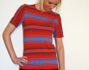 T-Shirt from Navajo Inspired Jersey Fabric with Short Sleeves - Free Domestic Shipping