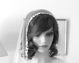Couture bridal cap veil -1920s wedding  veil - Delicate