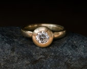 Diamond Ring - Diamond Engagement  Ring - 18k Gold engagement Ring - Diamond Set in a Satin Finished 18k Yellow Gold Ring - Made to Order