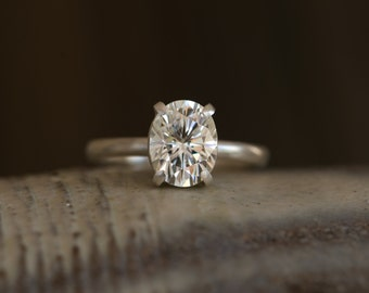 Forever Brilliant Moissanite Ring - Gold Moissanite Ring - Engagement Ring - Conflict Free Engagement Ring - Made to Order - Free Shipping