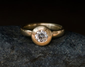 Diamond Ring - Diamond Engagement  Ring - 18k Gold engagement Ring - Diamond Set in a Satin Finished 18k Yellow Gold Ring - Made to Order