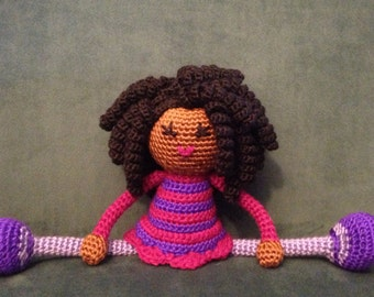 Crochet African Doll in Pink and Purple Dress, Plush curls twists dreads Locks Natural Black Hair Stuffed Toy Baby Girl Gift MADE TO ORDER