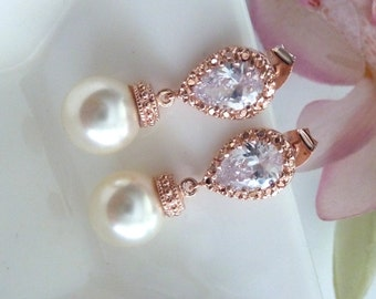 Bridal Earrings Cream Ivory Round Swarovski Pearl with Rose Gold Plated Teardrop CZ Post Earring