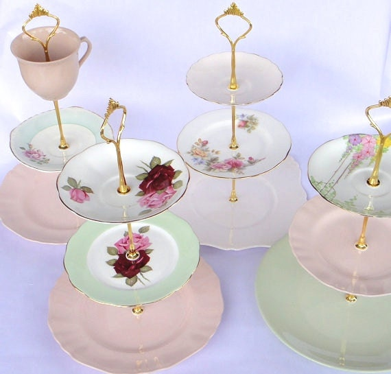 Design Your Own Cake Stand : How to make a Vintage 3 Tier Cup Cake Plate Wedding Stand DIY