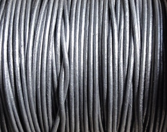 10 Yards 1mm Metallic Grey Genuine Leather Cord 1.0mm Round Cord - Metallic Silver