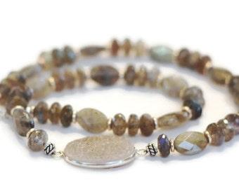 Gray Labradorite Necklace - Brown Labradorite Necklace - Quartz Druzy Necklace - Labradorite Druzy Necklace - Silver Labradorite Necklace